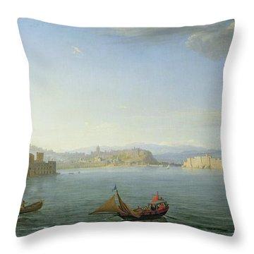 View Of Naples Throw Pillow by Adrien Manglard