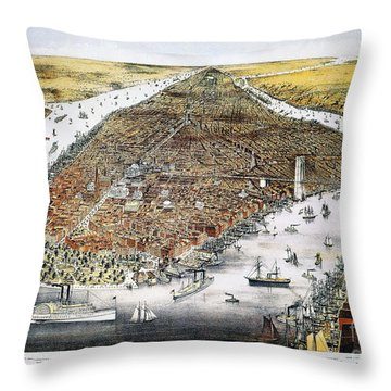 View Of New York, 1876 Throw Pillow by Granger