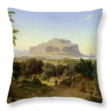 View Of Palermo With Mount Pellegrino Throw Pillow by August Wilhelm Julius Ahlborn