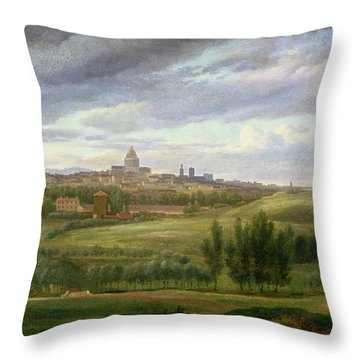 View Of Paris From Butte Aux Cailles Throw Pillow by Jean Baptiste Gabriel Langlace