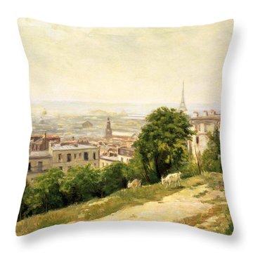 View Of Paris Throw Pillow by Stanislas Victor Edouard Lepine