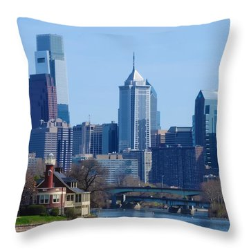 View Of Phliadelphia From West River Drive. Throw Pillow by Bill Cannon