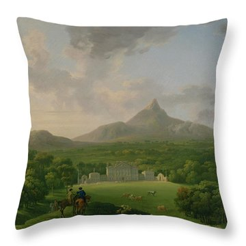 View Of Powerscourt - County Wicklow Throw Pillow by George the Elder Barret