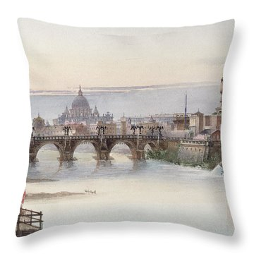 View Of Rome Throw Pillow by I Martin
