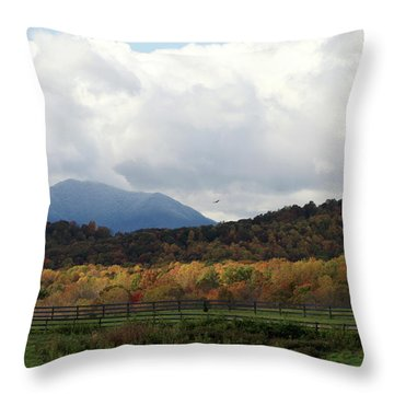 View Of Sharp Top In Blue Ridge Mountains Throw Pillow