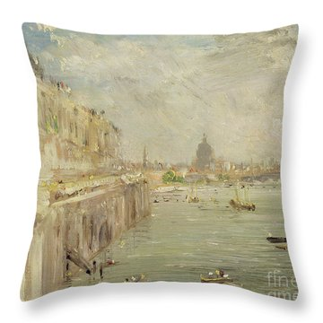 View Of Somerset House Terrace And St. Paul's Throw Pillow by John Constable