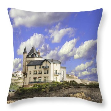 View Of The Beautiful Castle On The Bay Of Biscay Of The Atlantic Ocean Throw Pillow
