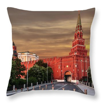View Of The Borovitskaya Tower Of The Moscow Kremlin Throw Pillow