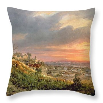 View Of The Butte Montmartre Throw Pillow by Louis Jacques Mande Daguerre