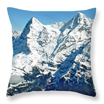 View Of The Eiger From The Piz Gloria Throw Pillow