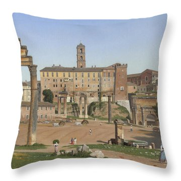 View Of The Forum In Rome Throw Pillow