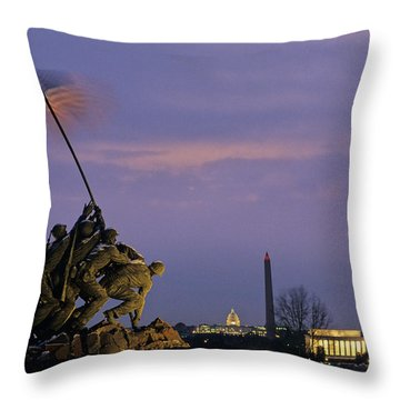View Of The Iwo Jima Monument Throw Pillow