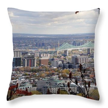 View Of The Jacques Cartier Bridge Throw Pillow