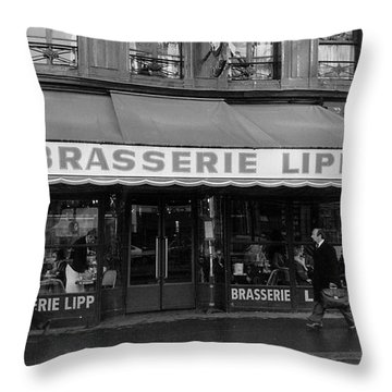 View Of The Lipp Restaurant In Saint Germain Des Pres In Paris On March 2, 1979 Throw Pillow