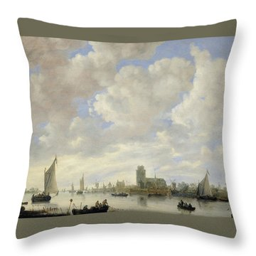 View Of The Merwede At Dordrecht Throw Pillow