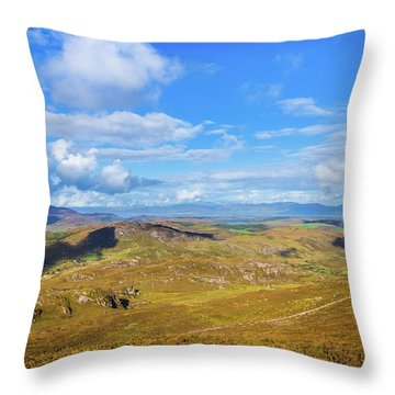 Throw Pillow featuring the photograph View Of The Mountains And Valleys In Ballycullane In Kerry Irela by Semmick Photo