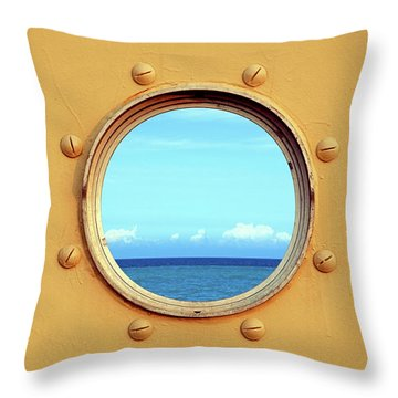 View Of The Ocean Through A Porthole Throw Pillow by Yali Shi