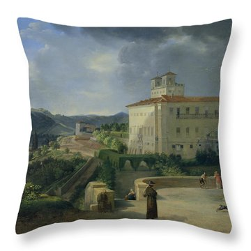 View Of The Villa Medici In Rome Throw Pillow by Nicolas Antoine Taunay