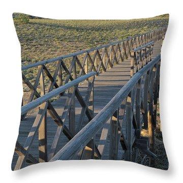 View Of The Wooden Bridge In Quinta Do Lago Throw Pillow