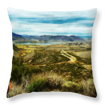 Throw Pillow featuring the digital art View Of Vail Lake On Horseback by Rhonda Strickland