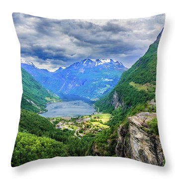 Throw Pillow featuring the photograph View On Geiranger From Flydalsjuvet by Dmytro Korol