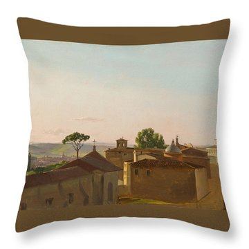 Throw Pillow featuring the painting View On The Quirinal Hill. Rome by Simon Denis