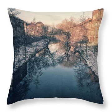 View Onto The River  Throw Pillow