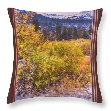 View Out The Frame Of A Broken Window Throw Pillow