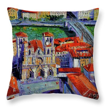 View Over Cathedral Saint Jean Lyon Throw Pillow