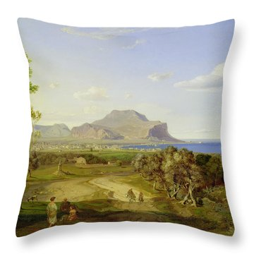 View Over Palermo Throw Pillow by Carl Rottmann