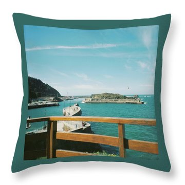 View Over The Ocean Port Throw Pillow