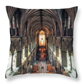 View Through Ely Cathedral Throw Pillow