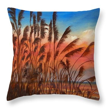 View Thru Seaoats Sold Throw Pillow by Susan Dehlinger