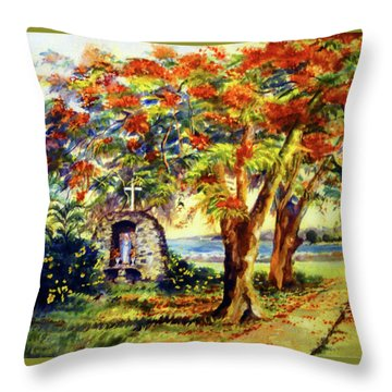 View To Aguadilla Bay Throw Pillow by Estela Robles