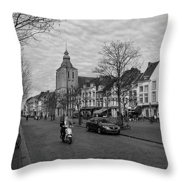 View To The Bosch Street In Maastricht Throw Pillow by Nop Briex