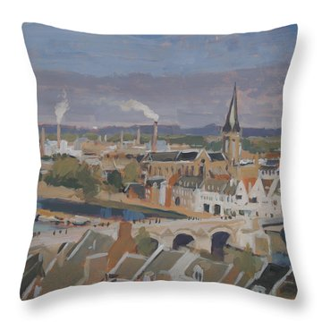 View To The East Bank Of Maastricht Throw Pillow