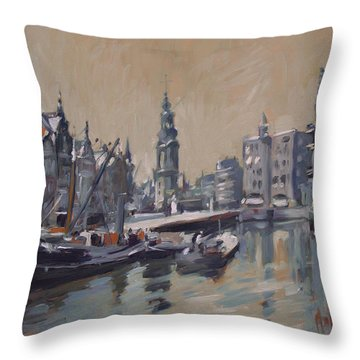 View To The Mint Tower Amsterdam Throw Pillow by Nop Briex