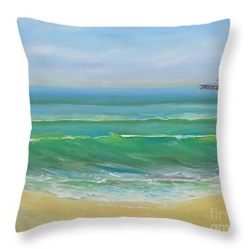 Throw Pillow featuring the painting View To The Pier by Mary Scott