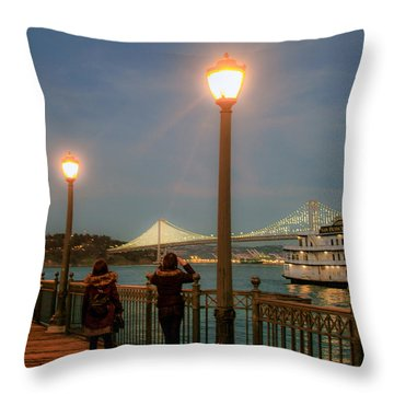 Viewing The Bay Bridge Lights Throw Pillow