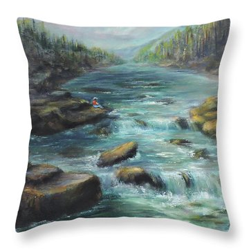 Viewing The Rapids Throw Pillow