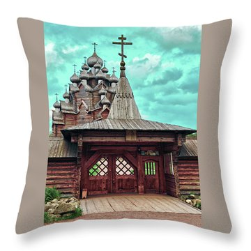views of Holy gates and Church of the Intercession of the blessed virgin Mary Throw Pillow