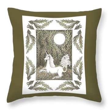 Vigilant Unicorn Throw Pillow by Lise Winne