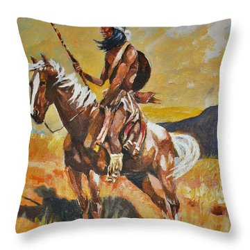 Throw Pillow featuring the painting Vigilante Apache by Al Brown