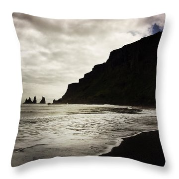 Vik Beach Reynisdrangar Iceland Throw Pillow by Matthias Hauser
