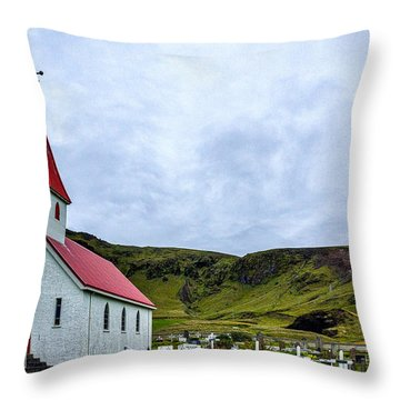 Vik Church And Cemetery - Iceland Throw Pillow