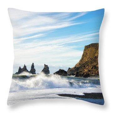 Throw Pillow featuring the photograph Vik Reynisdrangar Beach And Ocean Iceland by Matthias Hauser