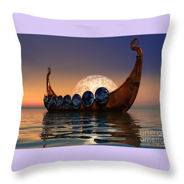 Viking Boat Throw Pillow by Corey Ford