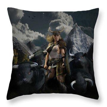 Viking Gefjon Throw Pillow by Andy Renard