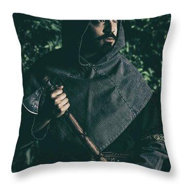 Viking Man With Axe Throw Pillow