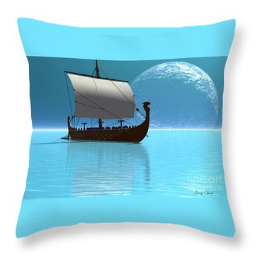 Viking Ship 2 Throw Pillow by Corey Ford
